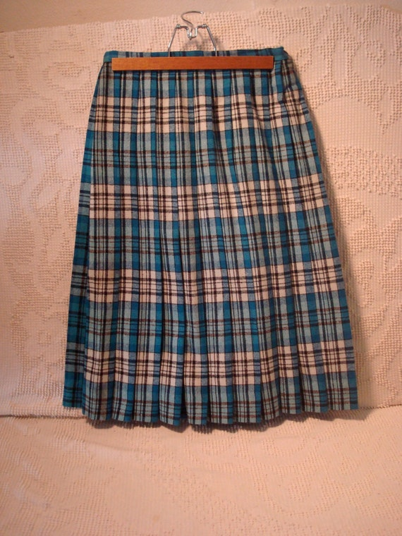 pleated skirt blue plaid jantzen by rcollectibles on etsy