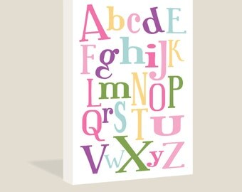 Alphabet Fun Canvas Wrap | ABC | Pink and Purple Colors | Children's Wall Art | Girl's Room Sign