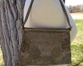 Beaded Bag Joseph de Paris Beverly Hills Gold Silver Floral Design AS IS