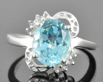 Blue Topaz ring, sterling silver ring, gemstone ring, december birthstone ring, blue oval ring