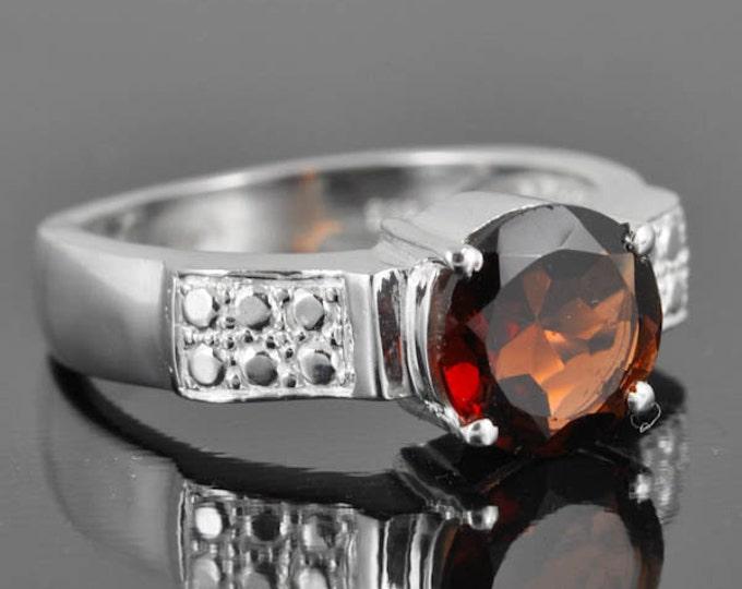 Garnet ring, sterling silver ring, gemstone ring, red, round, january birthstone
