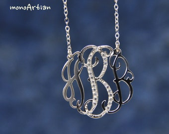 "Diamond Monogram necklace- CZ Initial necklace-1"" silver name necklace"
