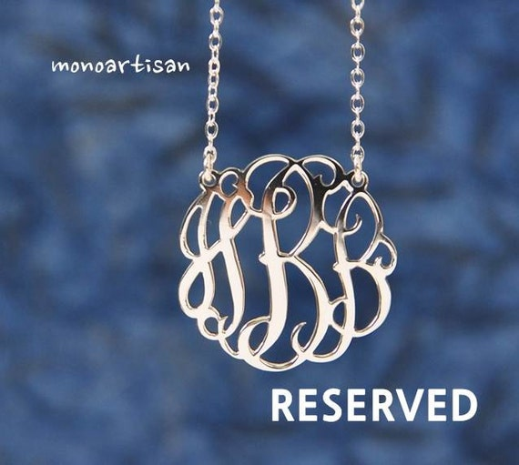 Reserved item for Anne-Silver Monogram Necklace 1.5inch Personalized Necklace