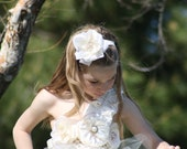 Vintage ivory tulle and lace flower girl dress for weddings, birthday,photoprop