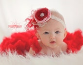 Children's Valentines Headband- Be Mine- Red and light pink- with red and pink accents, feathers, pearls and lace