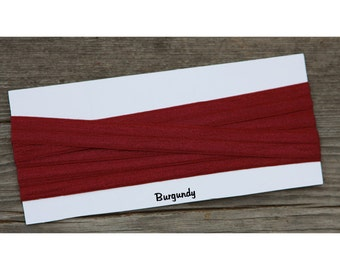 """Going out of Business Sale! 5/8"""" Burgundy Red Fold Over Elastic FOE You Choose Length DIY Headbands"""