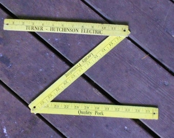 Vintage YARDSTICK, YELLOW, ADVERTISING, Quality Pork, shabby decor, measuring tool, wood,