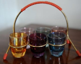 Set of Six Shot Glasses in Holder