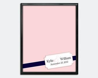 "Custom Wedding Guestbook Poster - Printable PDF - Corner Monogram Ribbon - 16"" x 20"" - Personalized - Custom Colors"
