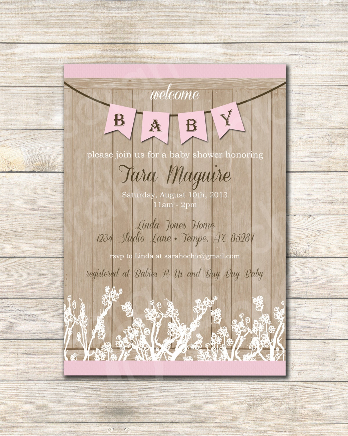 printable rustic baby shower invitation girl sarah by sarahochic