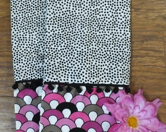 Black and White Speckle Dish Towel Set of 2 with Black Pom Poms