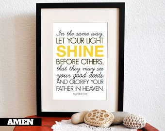 Matthew 5:16. Nursery Decor. Let your light shine. 8x10 Printable Christian Poster.Bible Verse.
