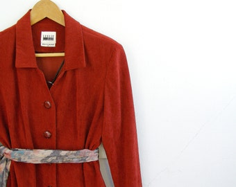 70s Rusty red Skirt Suit, US 8, UK 10, Leslie Fay woman suit, Vintage Pencil skirt, Elegant Long sleeves Jacket, Burgundy Blazer