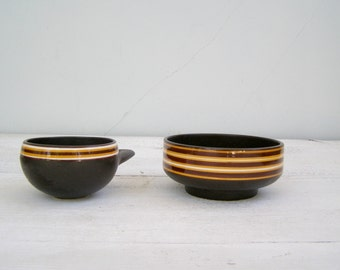 70s Israel Pottery Bowls Brown Yellow, Vintage Small Serving Candy Bowl Set,  Mid century Retro Ceramic Party Dish