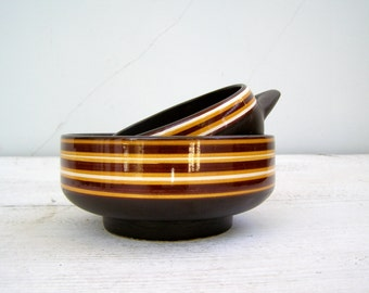 70s Candy Bowls Brown Yellow, Small Serving Bowl Set,  Mid century Israel Pottery, Retro Ceramic Party Dish, Vintage Bowls
