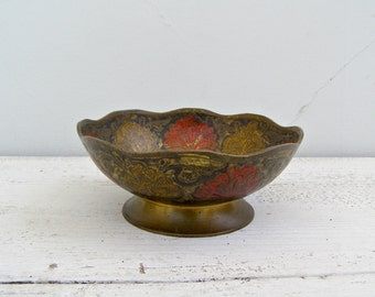 Ethnic Decorative Brass Bowl, Indian Embossed Brass Candy Bowl, Repousse Decor Enamel Peacock, Collectible Asian, Boho Trinket Jewelry Dish