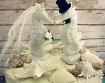 "Seahorse Wedding Cake Topper-Kissing Seahorse Couple-Beach Themed Wedding Cake Topper 5.4""all each"