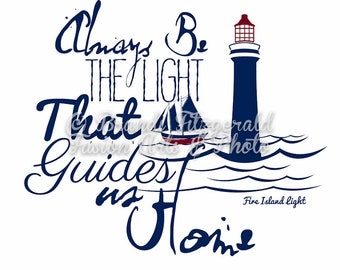 Fire Island LightLighthouse Typography New York At Checkout, Choose Lustre Print or Gallery Wrapped Canvas