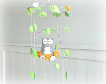 Owl mobile - Woodland - baby mobile - nursery decor - yellow, gray, silver, white - mobile - MADE TO ORDER