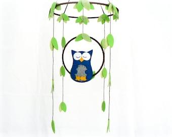 Owl mobile - woodland - Nursery baby mobile - Felt marine blue and gray owl - Nursery decor - MADE TO ORDER