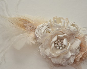 Hair Clip - Over The Top Clip - Cream and Champagne - Fascinator Hair Clip, Bridal Hair Clip, Cream, Ivory, Off White