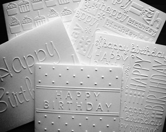 Set of 5 Embossed Birthday Cards