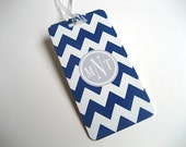 Luggage Tag PAIR - Navy Blue and White Chevron Custom Monogram Luggage Tag - Personalized Luggage Tag - Travel Tag - Your Monogram