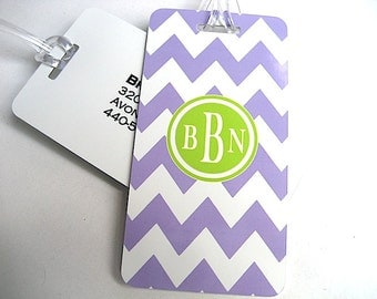 Luggage Tag Pair - Lavender and White Chevron Custom Lime Green Monogram Luggage Tag - Personalized Luggage Tag - Travel Tag - Your Monogram