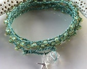 THIS WEEKS SPECIAL  Seafoam Green crochet wrap 5X bracelet 2X necklace, sterling silver starfish dangle, surfer chic beach boho