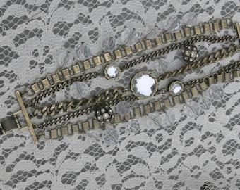 chain and rhinestone gothic bracelet