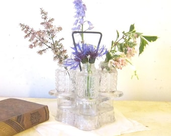 Vintage Glass Cruet Service Bottles Vases Vintage Serving Housewares Cottage Shabby Chic Decor