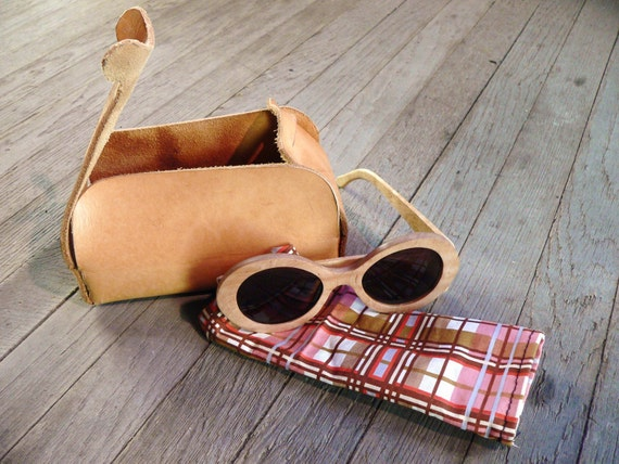 Wood Eye Glasses Eye Wear Sunglasses RX With Leather case