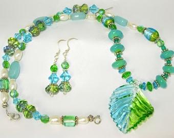 Amazonite, Freshwater Pearls, shades of  Blue & Green Necklace SET, Leaf Pendant