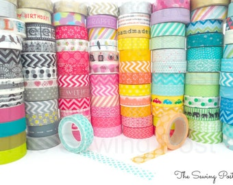 Pick 15 Whole Rolls of Assorted Washi Tapes: 158 Patterns