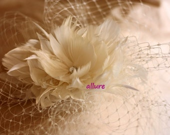 Wedding Hair Feathers Flower. BIRDCAGE VEIL , feathers headpiece. Bridal veil. White, ivory, champagne