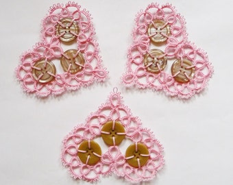 Three pink hearts with buttons - Wedding decoration- lace heart - handmade heart - home decor - vintage style