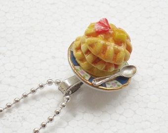 Stack Of Waffles Pendant. Polymer Clay.