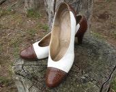RESERVED for Karen****Adorable Brown / White Heels Pumps Saddle Shoes Swing Rockabilly Mad Men Size 7 1/2