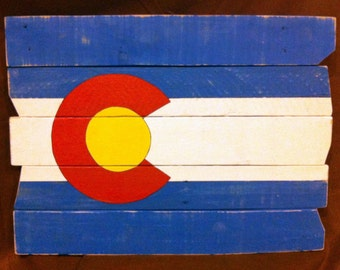Colorado State Flag On Pallet Wood