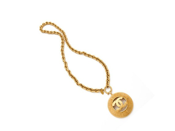 Vintage CHANEL CC Logo Charrm Gold Plated Chain Necklace at HauteDecades on Etsy