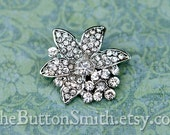 """Rhinestone Buttons """"Marcy"""" (26x24mm) RS-047 - 5 piece set"""