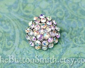 """Rhinestone Buttons """"Holly"""" (18mm) RS-057 in Opal AB - 20 piece set"""