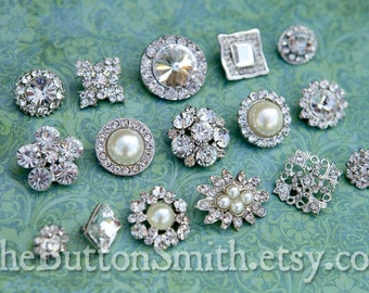 Rhinestone Button Mix - Bridal Collection - 107 - 15 piece set