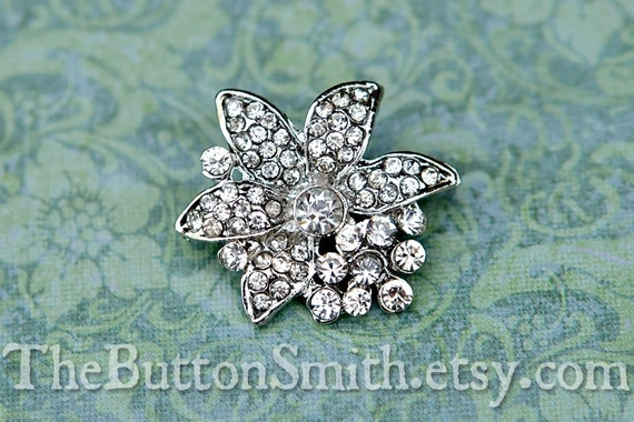 "Rhinestone Buttons ""Marcy"" (26x24mm) RS-047 - 5 piece set"