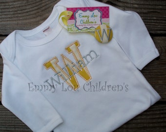 Applique Gown and Pacifier Clip Set