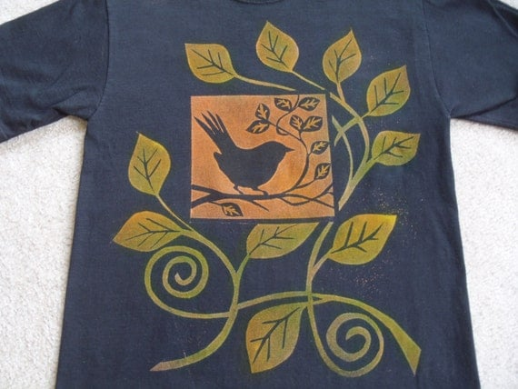 RESERVED for Harri from eastcityflower, great looking bird, leaf, and branch motif, man's medium, very stylish,  procion dyes
