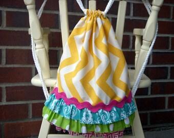 Children's Size Yellow Chevron Drawstring Backpack