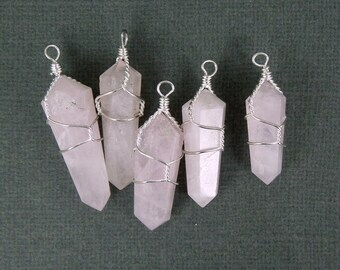 10pcs - Rose Quartz Silver Plated wire Wrapped Point Pendant - Crystal Point Wire-Wrapped Pendant-- LOT of 10 PENDANTS (S20B7-01)