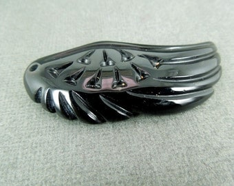 15% off Christmas in July Black Onyx Wing Pendant-- Onyx Carved Wing Pendant