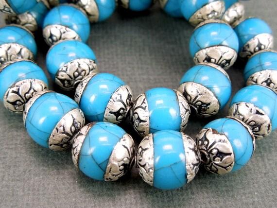 TWO BEAUTIFUL Tibetan Silver Blue Beads (BB-165)